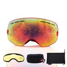 Anti fog Ski Goggles UV big sphere ski Eyewear Men Women Ski Goggles Snowboard mask Protection Glasses with Box Brighten Lens