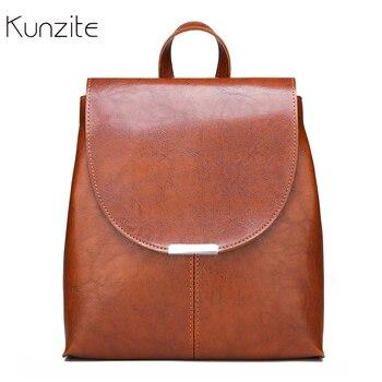 6ea50084441b Кунцит Для женщин рюкзак сплошной Цвет Pu кожаные рюкзаки для женский бренд  сумки на плечо для девочек школьные сумки Bagpack sac dos femme