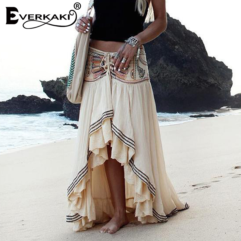 Everkaki Bohemian Embroidery Women Gypsy Summer Skirt Cotton Lace Up Beach Boho Long Skirts Female Casual Bottoms Skirt 2019 New(China)