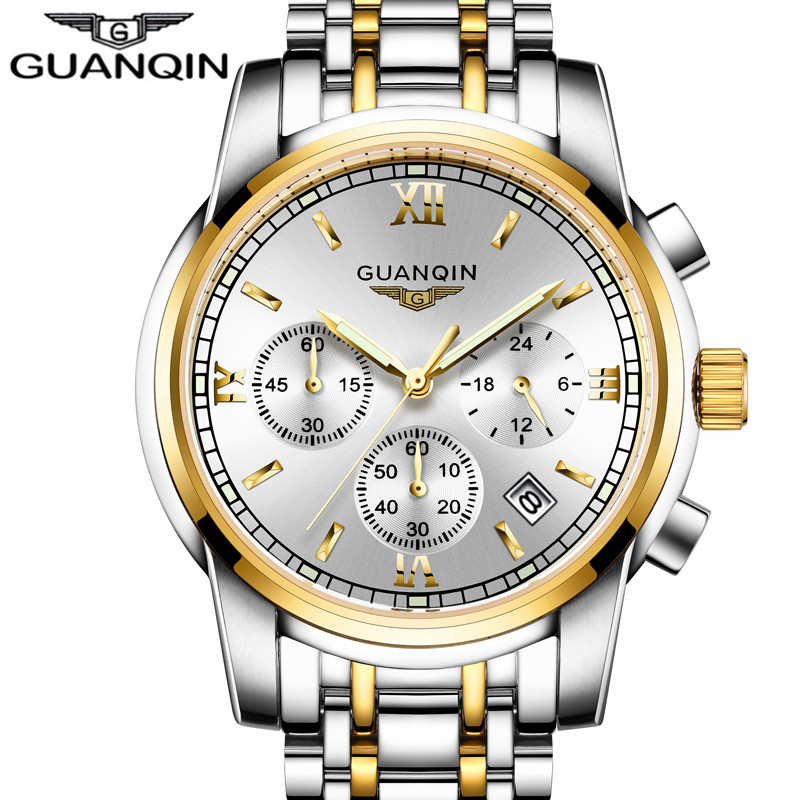 ФОТО relogio masculino GUANQIN Fashion Business Men Luxury Brand  Quartz Watch Mens Sport Watches Chronograph Luminous Wristwatch
