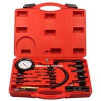 UNIVERSAL 17PCS AUTOMOTIVE DIESEL ENGINE CYLINDER COMPRESSION DIAGNOSTIC TEST GAUGE TOOL SET AT2128