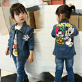 2016 New Spring Baby Denim Coats And Jackets Casual Turn-down Collar Regular Full Character Children Jeans Minnie Cartoon Mickey