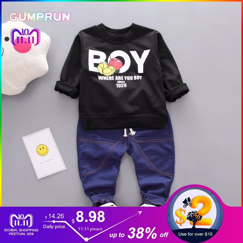 Kids Autumn Clothes Sport Boy Letter Printed boys clothes Long sleeve Children Clothing Set Boys Winter Clothes For Kids стоимость