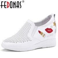 FEDONAS Brand Women Pumps Wedges High Heels Genuine Leather Shoes Slip On Rhinestone Wedding Shoes Bling Dress Ladies Pumps
