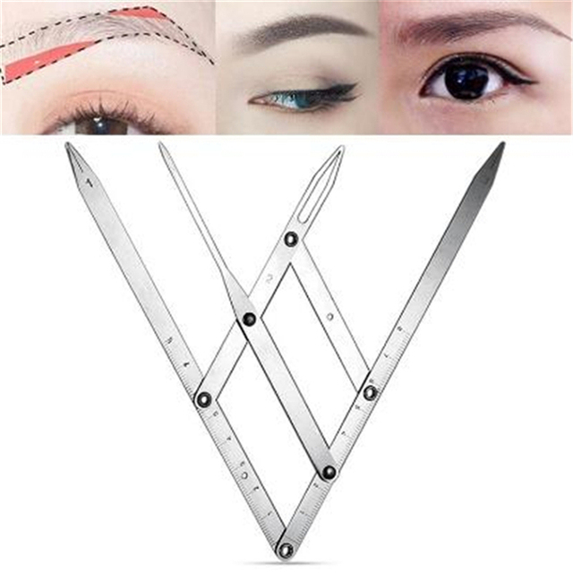 1PC New Fashion Stainless Steel Ruler Permanent Makeup Eyebrow Tattoo Design Calipers Stencil Golden Ratio Measure Micro Blading 1
