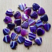 Atacado 36 pçs/lote boa qualidade roxo listra onyx coração forma pingentes para fazer jóias 20mm frete grátis