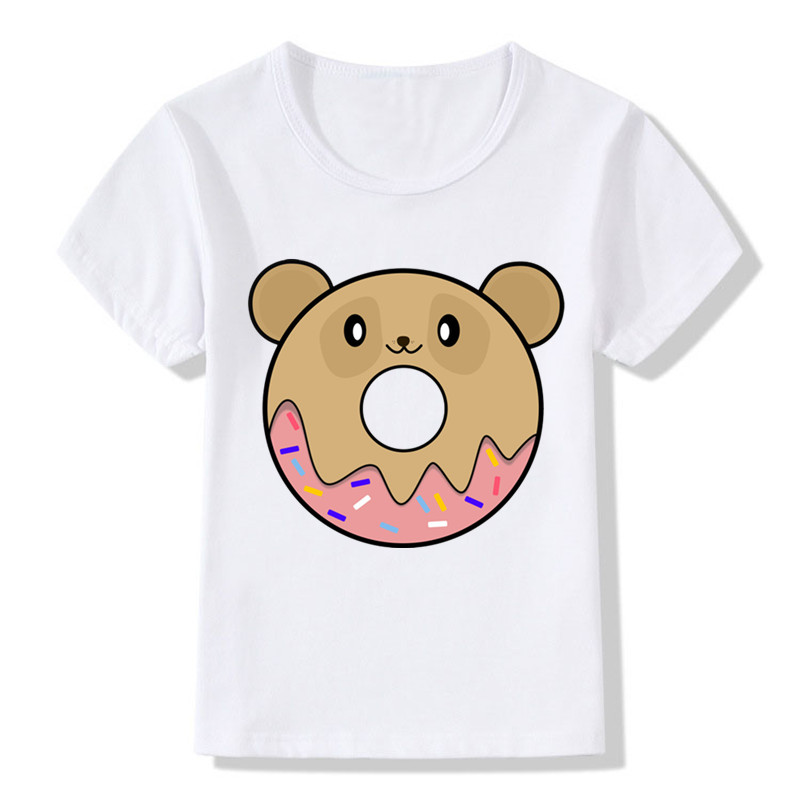 2019 Newest Children Cute Donut Bear Print Funny T-Shirts Kids Summer Tops Girls Boys Short Sleeve T Shirt Baby Clothes,ooo2093