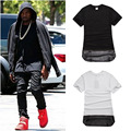 Men extended t shirt kanye west gold chain leather stitching design t-shirt tide brand hiphop tops short sleeve tee shirts homme