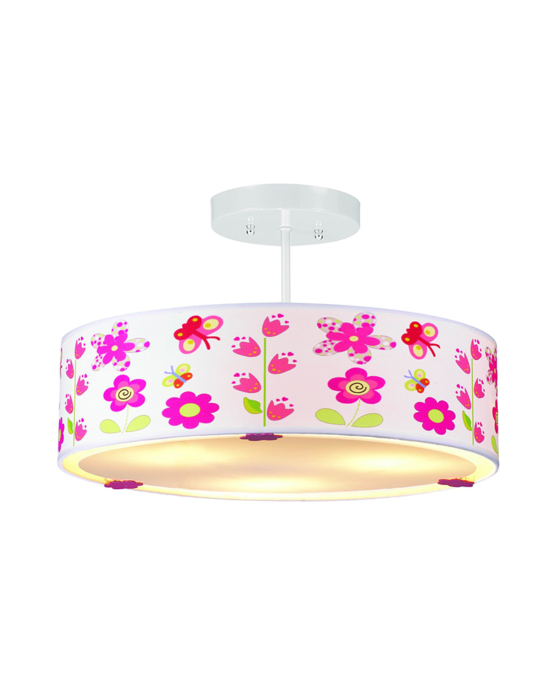 Butterflies and flowers patterns children ceiling light for Ceiling light for kids room