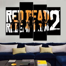 Modern Canvas Art Print 4 Pieces Red Dead Redemption 2 Painting Wall Decoration Modular Game Poster Unique Artwork Picture