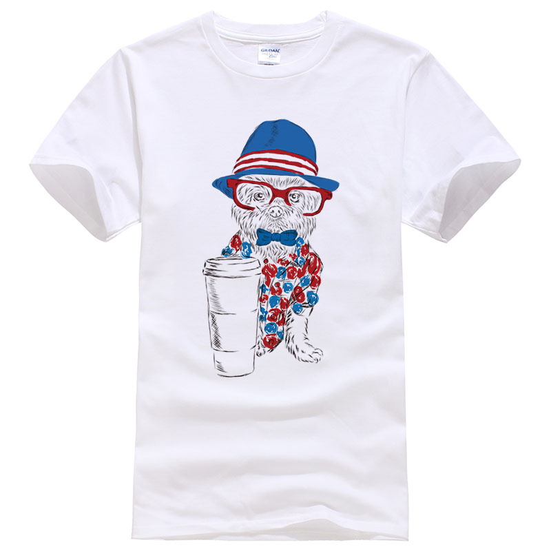 Sommer Baumwolle T Shirts Männer Frauen Beiläufige Kurze Great Dane Hund Trägt Hut & Sonnenbrille Tees Shirts #98