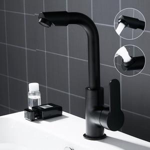 Image 5 - 360 Swivel Spout Basin Faucets Sink Taps Kitchen Bathroom Deck Mounted Mixer Taps Single Lever Black