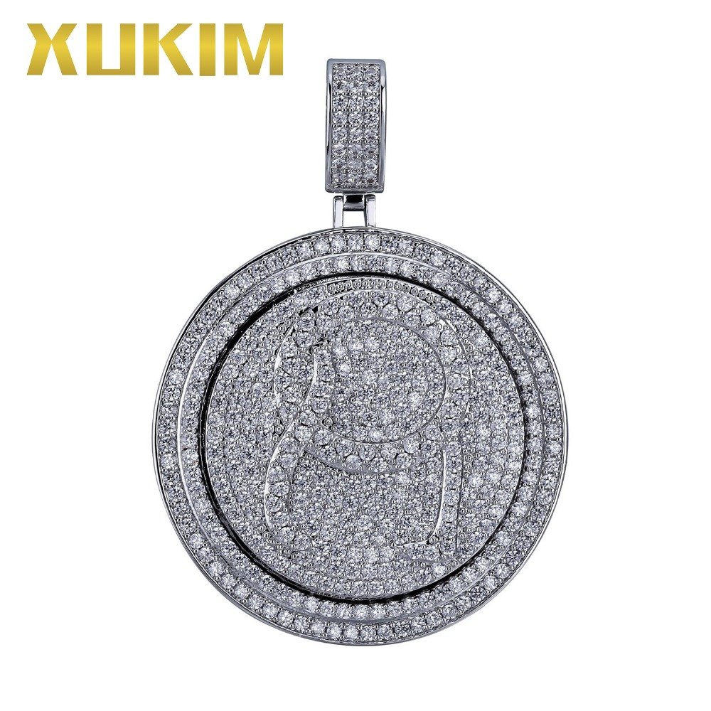 Xukim Jewelry Silver Gold Color AAA Cubic Zirconia Punk Rock Fashion Iced Out Hip Hop Pendant Spinner Pendant Necklace