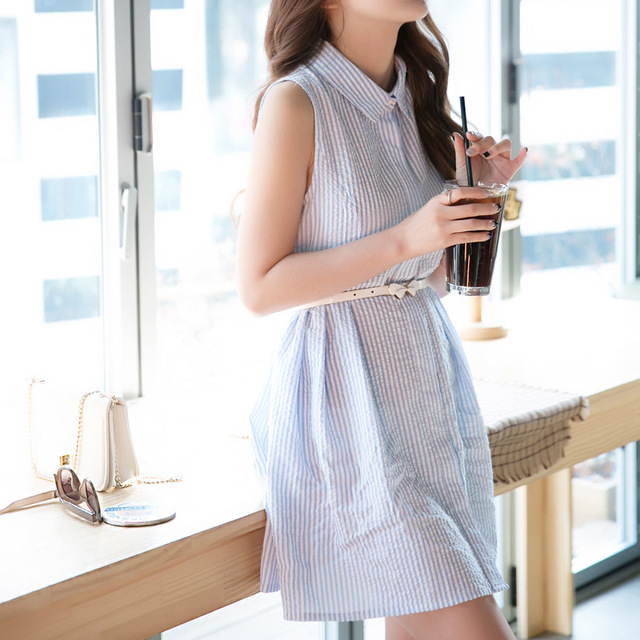ee2a1634fcf Fashion Women Summer Dress Striped Short Dress Cotton Party Dresses Turn-Down  Collar Sleeveless Office