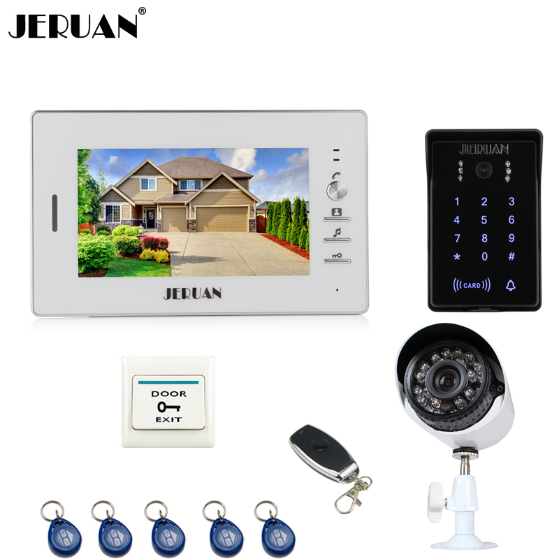 JERUAN Home 7`` Video Door Phone Intercom System waterproof RFID touch Password keyboard Access Camera + 700TVL Analog Camera jeruan home wired 7 lcd video door phone intercom system 700tvl rfid waterproof touch key password keypad camera free shipping