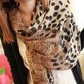 Chiffon silk scarf 2015 fashion scarf  female summer all-match Designer Leopard grain scarf long design air conditioning cape
