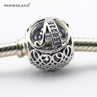 Pandulaso Vintage Letter A Beads Fashion DIY Silver 925 Jewelry Fit Charms Bracelets Alphabet Beads Fine Sterling-Silver-Jewelry