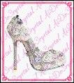 Aidocrystal роскоши элегантность ручной работы кристалл крытая вечерние туфли с камнями, белый блеск свадебные высокие каблуки