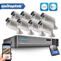 8Pcs 4 0MP HD IP Camera Outdoor Waterproof 8CH H 265 POE Security Camera NVR CCTV