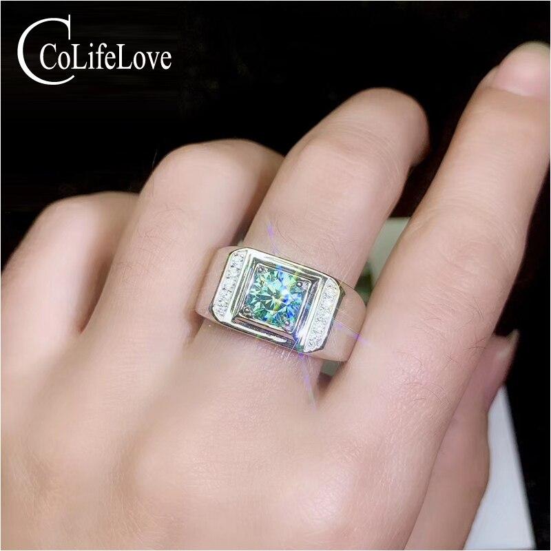 CoLife Schmuck 1ct Grün Moissanite Ring für Mann 6,5mm VVS Grade Moissanite Silber Mann Ring 925 Silber Fashio Mann schmuck-in Ringe aus Schmuck und Accessoires bei  Gruppe 1