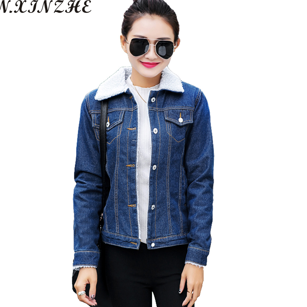 N.XINZHE Autumn Denim <font><b>Jacket</b></font> 2017 Winter <font><b>Jacket</b></font> Women lambswool jeans Coat Single Breasted Long Sleeves Warm Jeans Coat Outwear