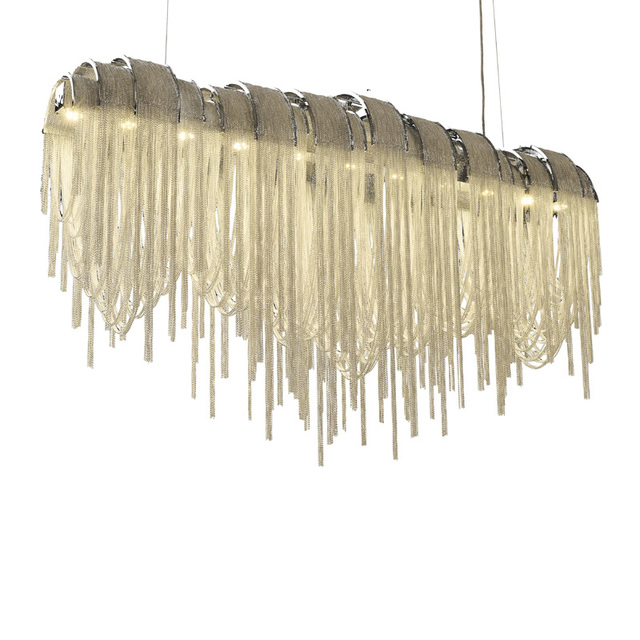 KINLAMS Modern Luxury Tassel LED Chandelier Creative Suspend Lamp For Living Room Hotel Cafe Silver Gold Aluminum Hang Light