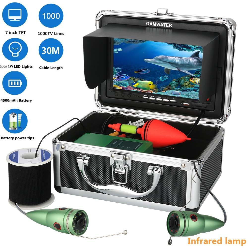 GAMWATER 7 Inch Color Monitor 15M 20M 30M 1000tvl Underwater Fishing Video Camera Kit 6 PCS Infrared Lamp Lights 30m video