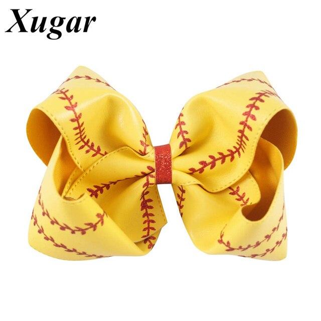 """7 """"große Leder Baseball Haar Bogen Für Kinder Mädchen Handgemachte Softball Headwear Boutique Haar Zubehör"""