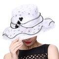 Envío de Las Mujeres de Sombreros de Verano 100% de La Gasa de Joven junio Sombrero Del Organza Blanco Color de Señora Party de la Manera de Ala Ancha sombreros de Ala sombreros