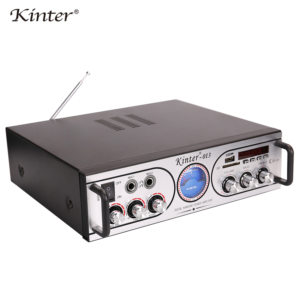 Kinter-013 power professional 2channel amplifier audio with two mic input ECHO bass treble control offer USB SD FM radio