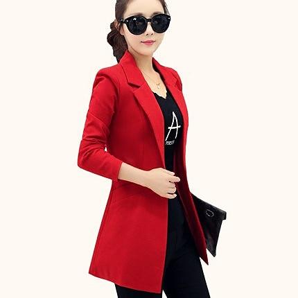 Women Small Suit Female Jacket 2019 Autumn New Slim Slimming Long Sleeve Small Suit Female Long Section Large Size Casual Suit
