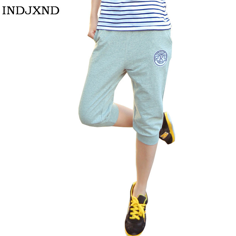 INDJXND Summer Women Casual Corriendo   Pants   Harem Trousers Female Sportswear Clothes Cotton Long Womens Seven Short   Capris     Pant