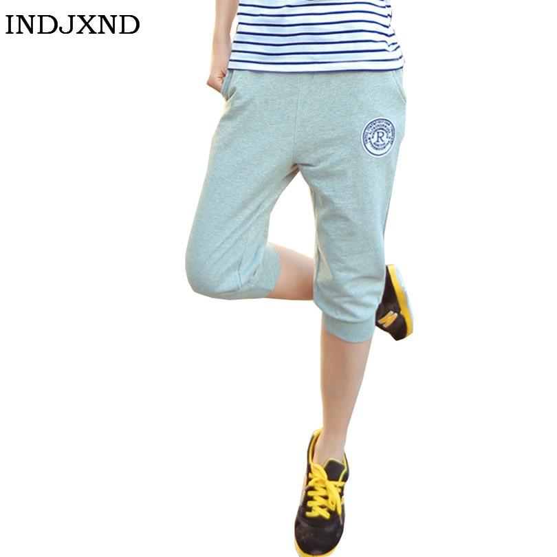 INDJXND Summer Women Casual Corriendo   Pants   Harem Trousers Female Sportswear Clothes Cotton Long Womens Seven Short   Capris     Pant