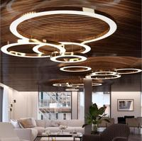 LED round restaurant chandelier post modern minimalist atmosphere stainless steel ring lobby hotel engineering lamps led fixture