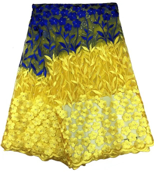 African Lace Fabric with stones Nigerian lace in yellow and blue 2018 Latest african french lace fabrics for wedding