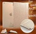 """Ультратонких PU Кожаный Чехол для iPad Воздуха 2 9.7 """"стенд Функция Чехол для iPad 6 Front Plastic Back Шампанское Золото Новое Прибытие"""