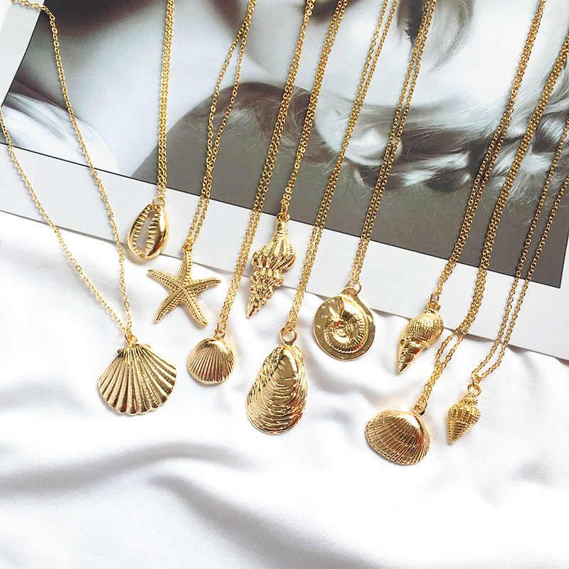 2019 新ファッションゴールドカラー合金 Cowrie シェルネックレス女性のための巻き貝チェーンペンダントネックレスサマージュエリーヒトデ襟
