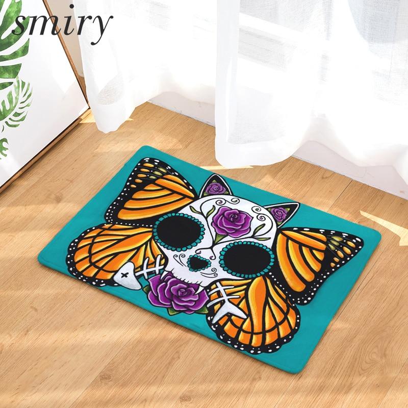 Smiry Welcome Home Hallway Wrinkle Resistant Door Mats Horrifying Floral  Butterfly Skull Pattern Rugs Light Waterproof Carpets