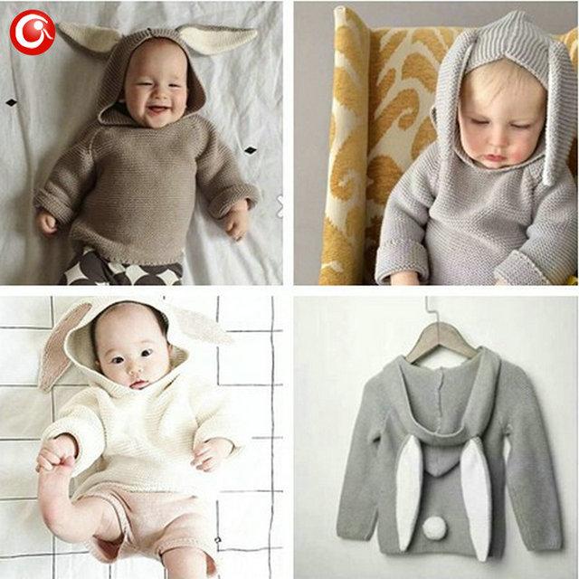 Otoño de Ganchillo Que Hace Punto Del Conejo 3D Patrón de los Bebés de la Rebeca Niños Niño Niños Jersey De Algodón Puente Caliente 1-5Y