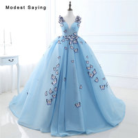 Glamorous Sky Blue Ball Gown Embroidery Butterfly Applique Evening Dresses 2017 Formal Women Party Prom Gowns
