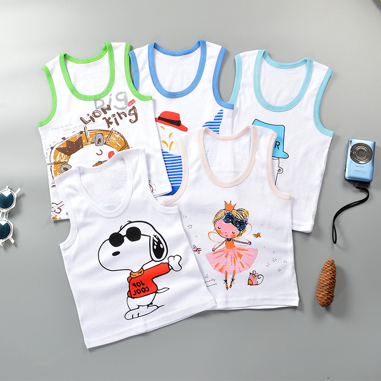 Shirt Girl Baby Sleeveless Clothing Tops Kids Cartoon Summer New Cotton for Boy And Children