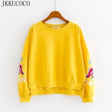 JKKUCOCO Embroidery Flowers Women Hoodies Good quality O-neck Pullover front short back long Women Cotton Sweatshirt 4 Colors