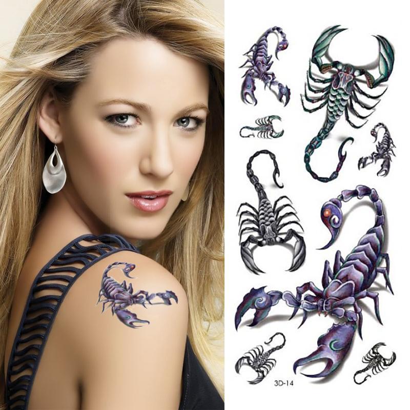 Scorpion Tattoo Designs 3D Small Tattoos Body Art Waterproof Temporary Tattoo Stickers Latest
