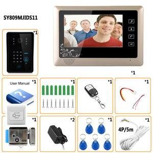 """Image 5 - Nuovo videocitofono cablato da 7 """"videocitofono RFID numero codice tastiera campanello Monitor telecamera sblocco Wireless + serratura elettrica"""