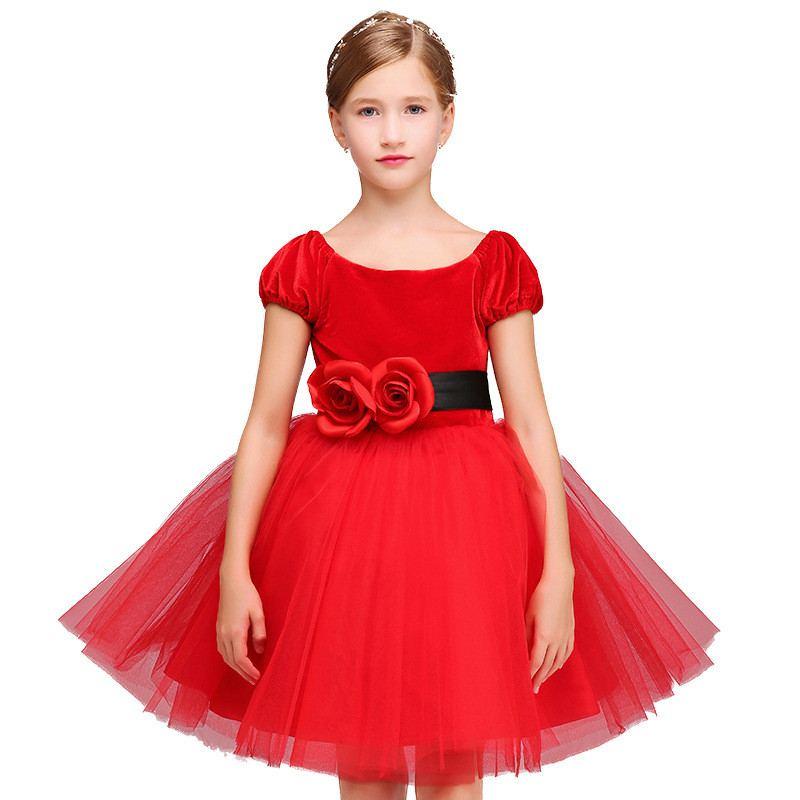 2019 nouveaux enfants filles velours fleurs Tutu princesse robe bébé fille vêtements Vestidos enfants robes pour filles soirée F200