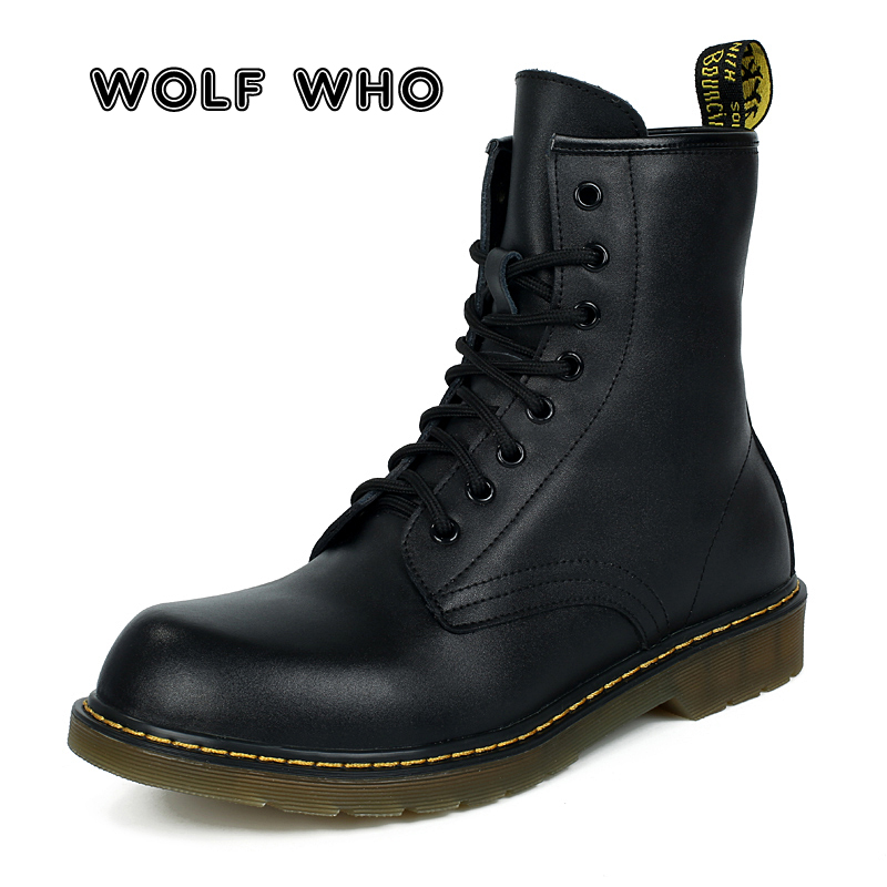 WOLF WHO 2019 Big Size Winter Men Warm Boots Man slip resistant Army Boots Warmest Martin Boots Male Leather Sneakers Shoe X 136
