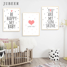 Scandinavian Style Poster Cute Baby Room Nursery Wall Art Children Decorative Canvas Painting for Kids Home Decor Love