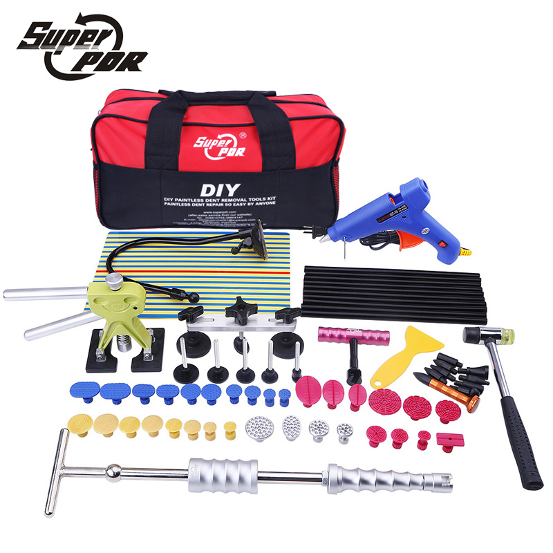 Super PDR Paintless Dent Repair Tool Kit Dent lifter Glue gun Line Board Slide hammer Dent Puller Glue Tabs 52 pc hand Tool Set  paintless dent repair tool pdr kit dent lifter glue gun line board slide hammer dent puller glue tabs suction cup pdr tool set
