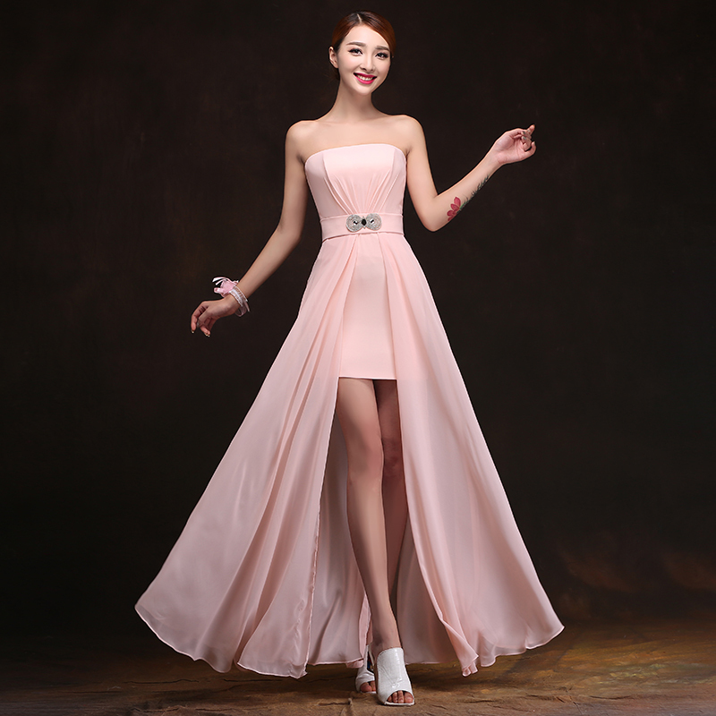 2017 Cheap Chiffon Long Plus Size Blush Pink Bridesmaid