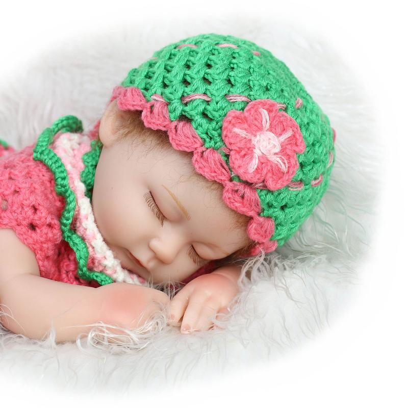 ФОТО NPK COLLECTION Silicone Reborn Sleeping Baby Doll Toy Lifelike Soft Body 40cm Cotton Body Newborn Girls Doll Birthday Gifts